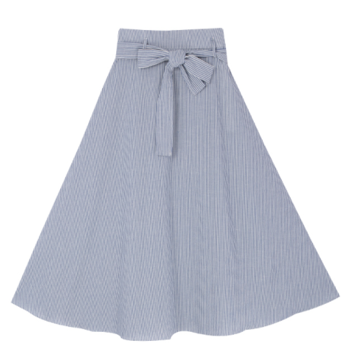 Striped A-Line Belted Midi Skirt