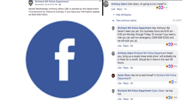 Man from Washington reacts to his own 'WANTED' advertisement on facebook from police.