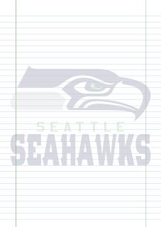 Folha Papel Pautado Seattle Seahawks PDF para imprimir na folha A4