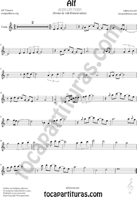 Alf Partitura de Violín Sheet Music for Violin