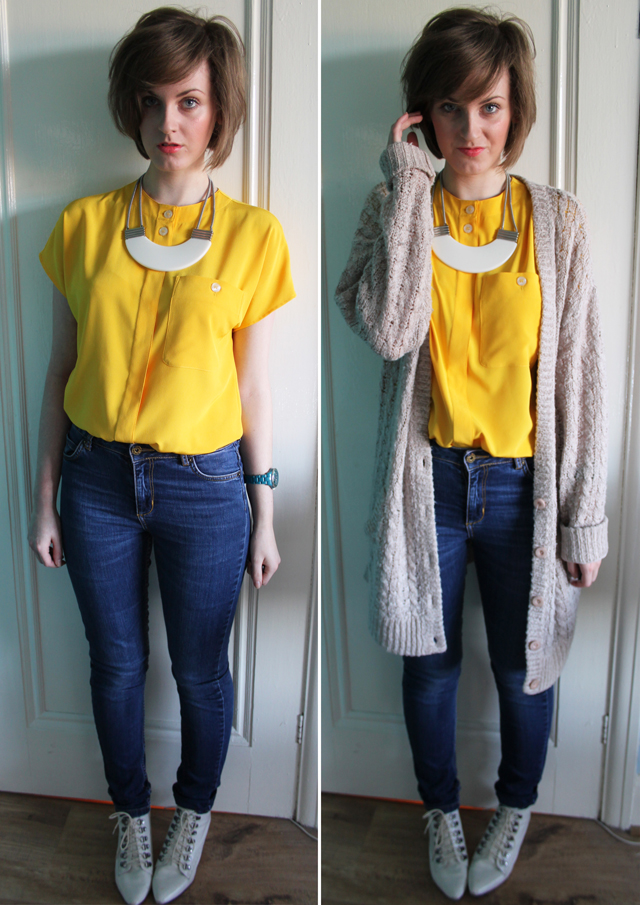 what to wear with yellow blouse