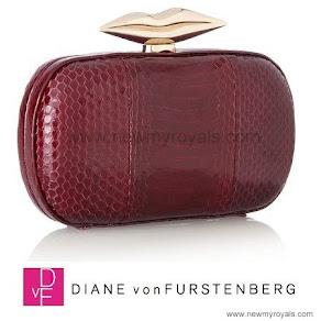 Queen Mathilde style Diane von Furstenberg Flirty Elaphe clutch