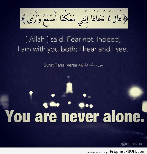 Allah said : Fear not. Indeed, i am with you both - Islamic Quotes