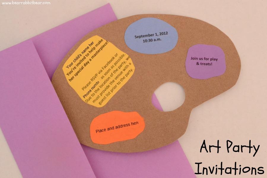 art party invitations the art palette