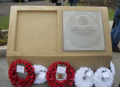The Victoria Cross commemorative paving stone, Witton Park memorial garden, photo by Gill Parkes