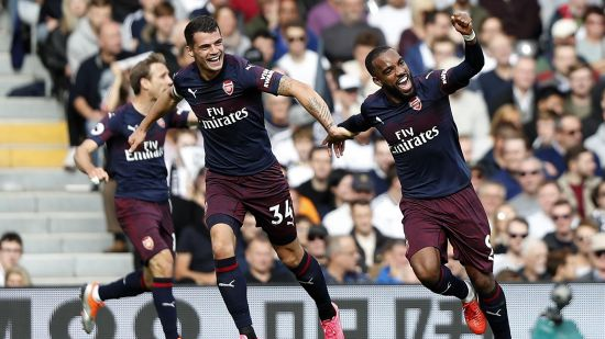 Arsenal Alexandre Lacazette celebrates goal against Fulham