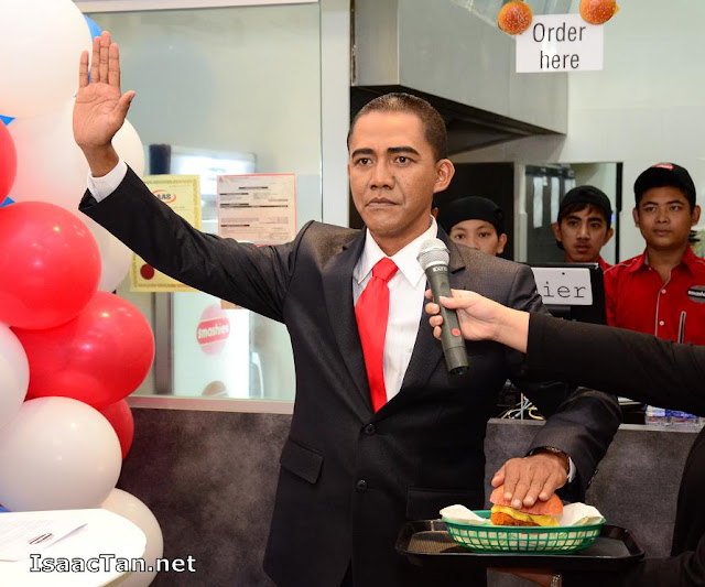 Here's Mr President giving a burger oath