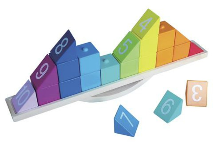 colourful wooden balance pyramid toy from Kmart