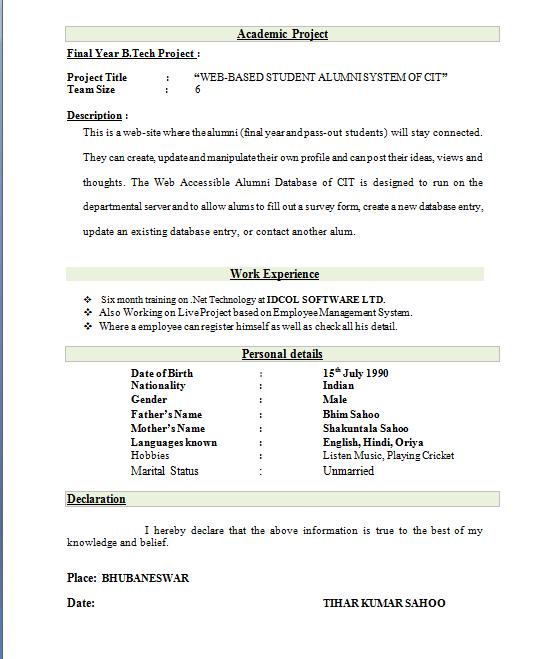curriculum vitae resume samples for freshers