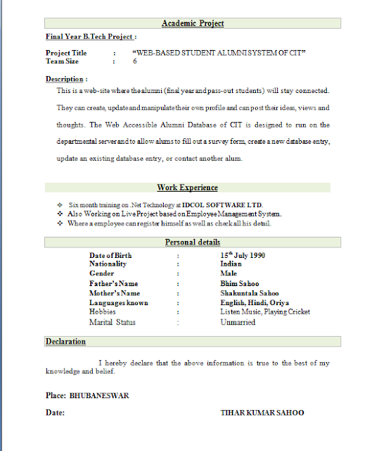 Resume Format For Engineering Freshers Download | Good