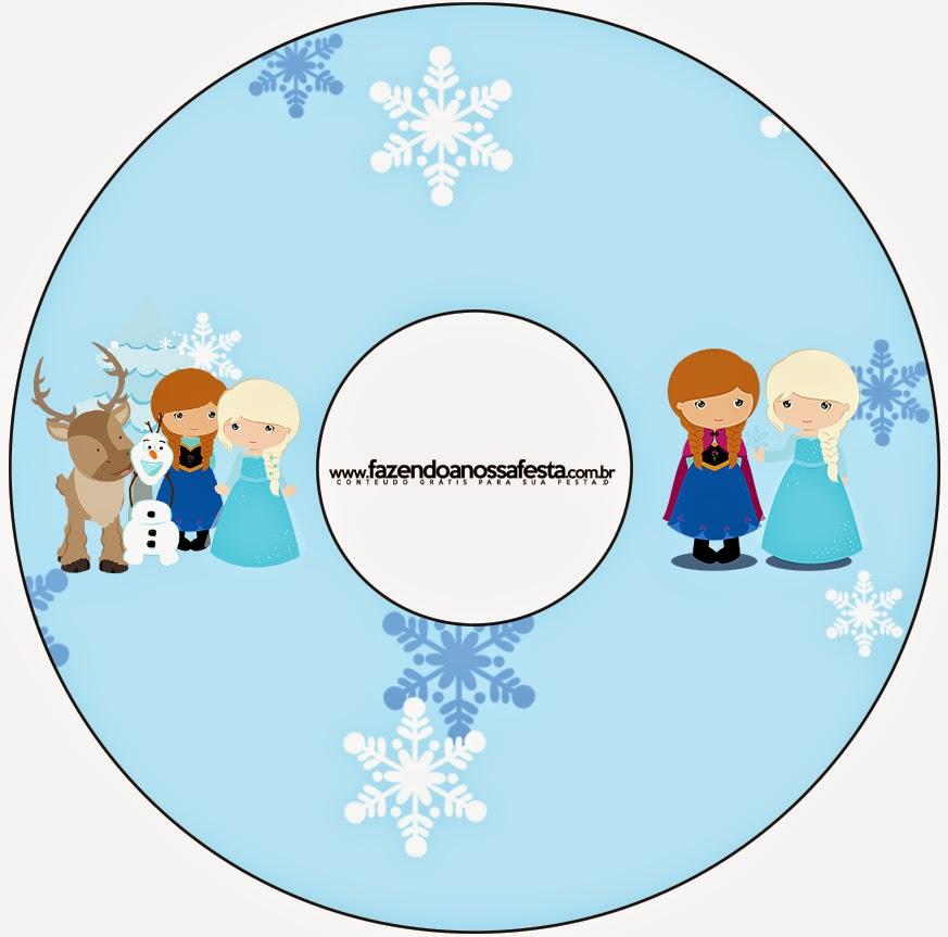 Etiqueta de CD´s para imprimir gratis de Frozen Niñas en Navidad.