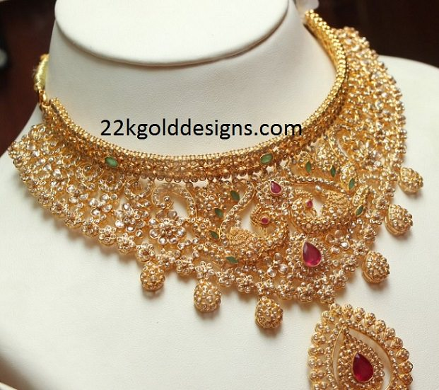 uncut naj light weight gold diamond india necklace jewels south