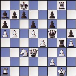 Partida de ajedrez Max Albin - José Paluzíe en 1910, posición después de 24…Dxf5!