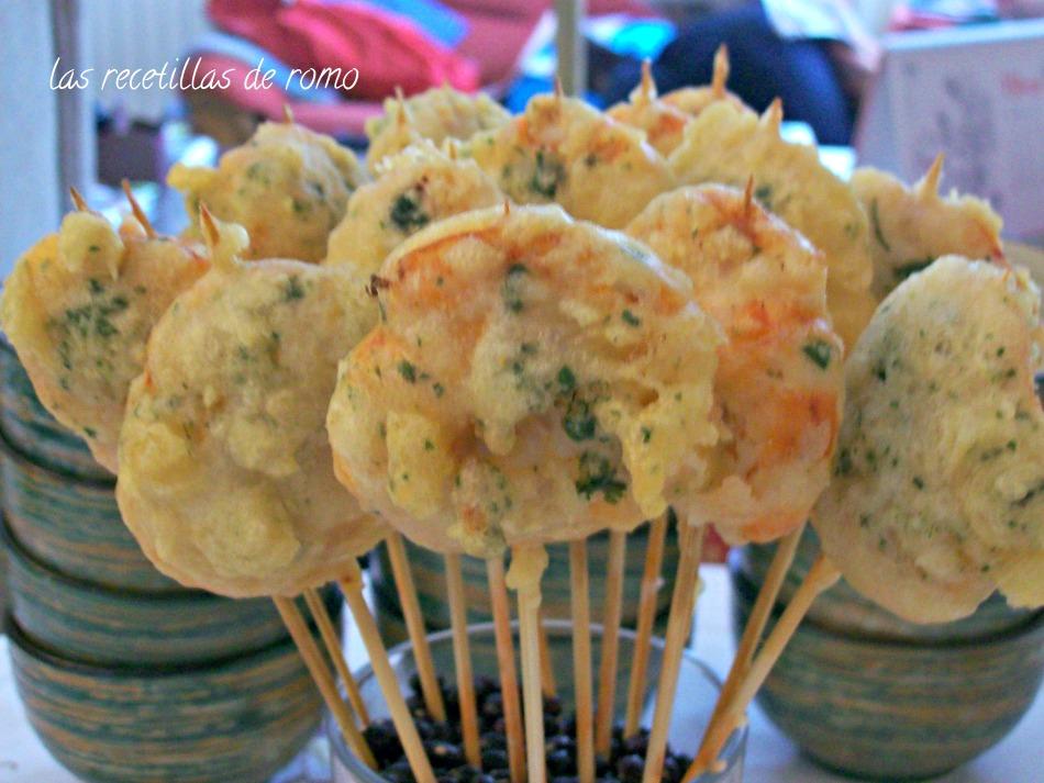 Piruletas de gambones en tempura