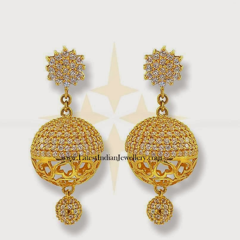 Gold indian jhumki earrings