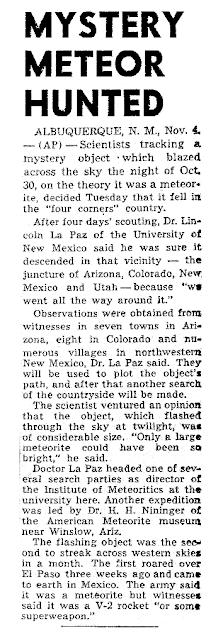 Mystery Meteor Hunted - AP 11-4-1947
