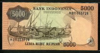 5000 rupiah penjala ikan 1975 Belakang