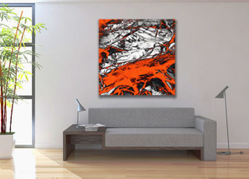 orange art, abstract art, large wall art, contemporary art, artwork, artist, USA, New York, Sam Freek, industrial,