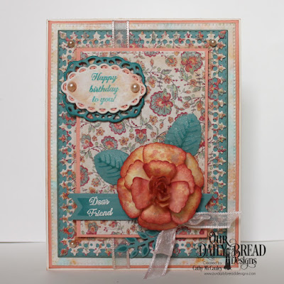 Our Daily Bread Designs Stamp Set: Lovely Flower, Paper Collection: Cozy Quilt, Custom Dies: Rose, Rose Leaves, Fancy Fan, Pennant Flags, Pierced Rectangles, Lavish Layers, Ornate Ovals, Fancy Foliage
