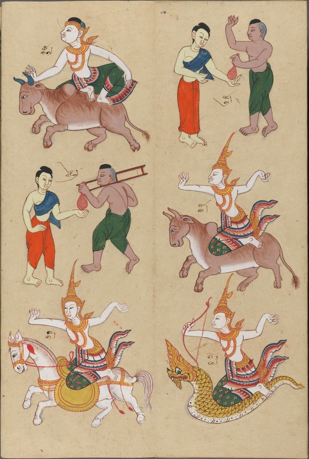 East Asian zodiac year figures hand-painted colour on paper