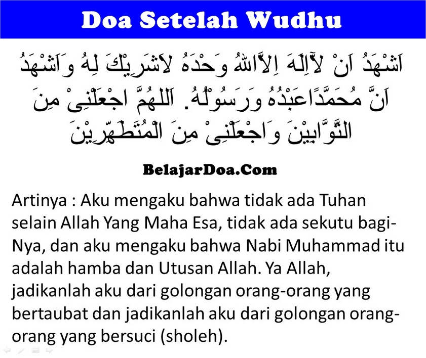 Lafal Bacaan Doa Sesudah Wudhu Yang Benar dan Lengkap Sesuai Sunnah Nabi Muhammad SAW