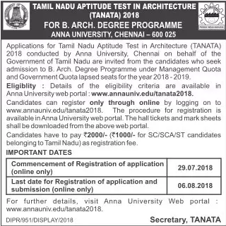Anna University Architecture Admission (TANATA 2018) Notification.