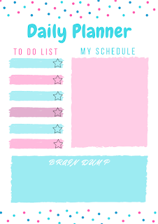 Printable Day Planner in blue and pink with polka dots