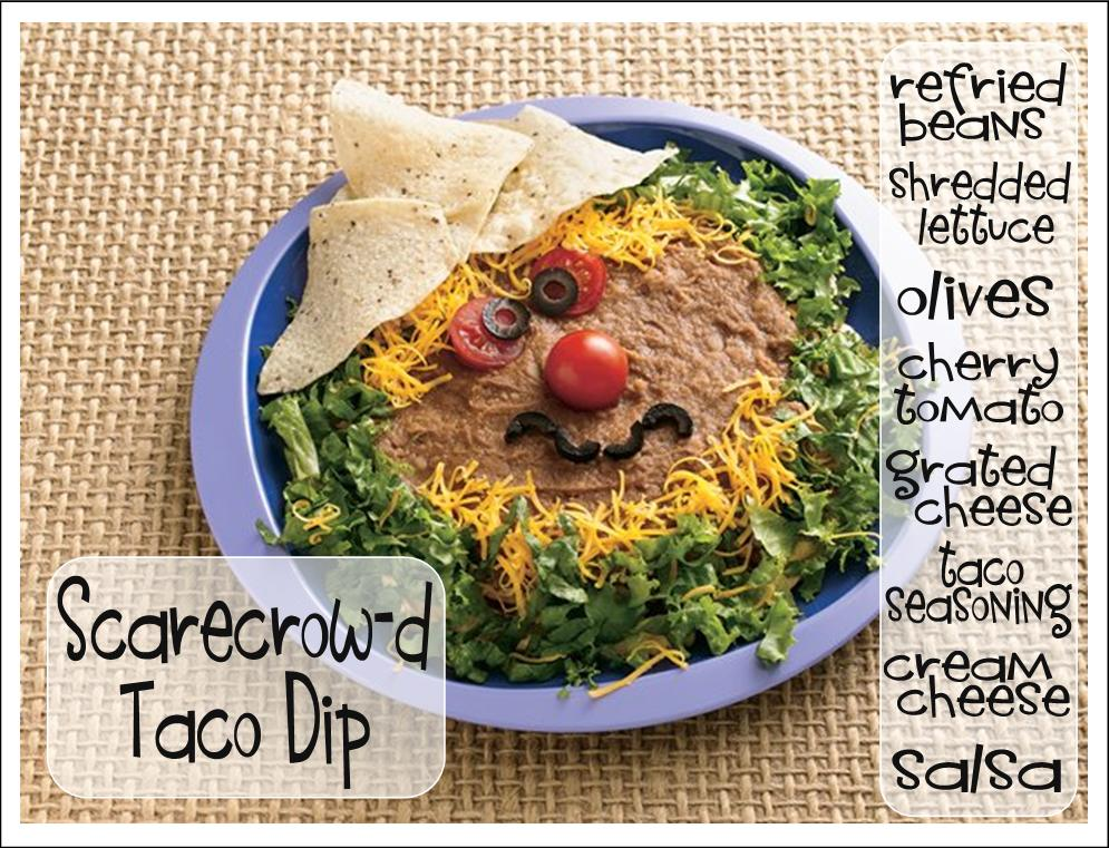 how about inviting a scarecrow to your halloween partyin the form of taco dip and chips hes such a cute scarecrow and will add a lot to your halloween