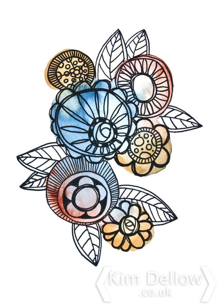 Kim Dellow Watercolour and paint pen floral cluster art