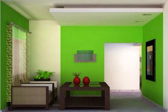 gambar warna cat ruang tamu 2 warna menarik