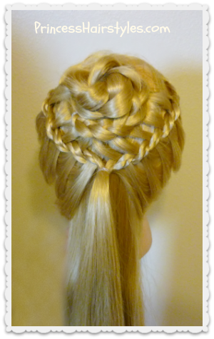 braided flower corsage hairstyle for weddings and prom