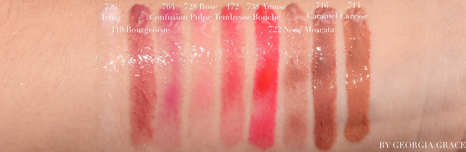 chanel rouge coco gloss swatches review photos comparison icing bourgeoisie rose pulpe tendresse amuse bouche noce moscata caramel caresse