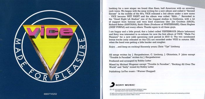 VICE - Made For Pleasure [Yesterrock remaster] booklet