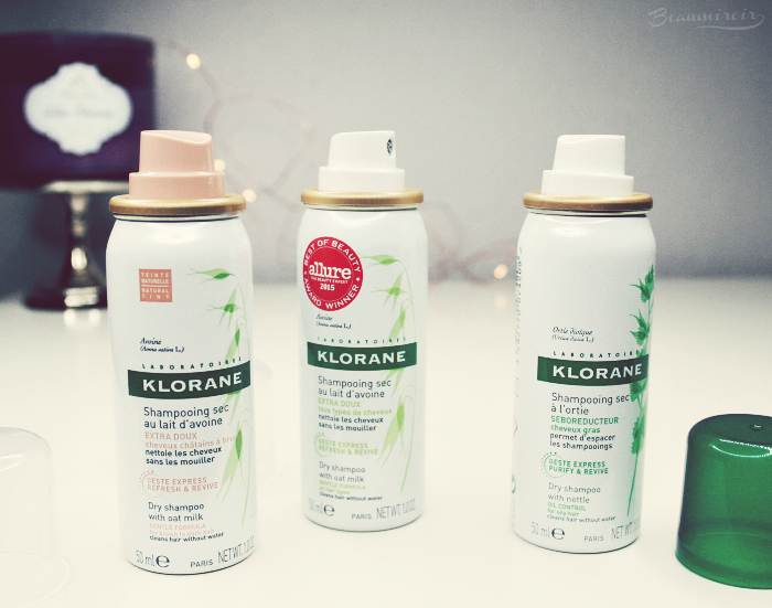 Review of Klorane's 3 dry shampoo formulas: original Dry Shampoo with Oat Milk, Natural Tint and with Nettle for oil control.