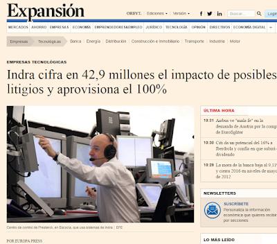 Indra cifra en 4,9 millones de euros el impacto de posibles litigios