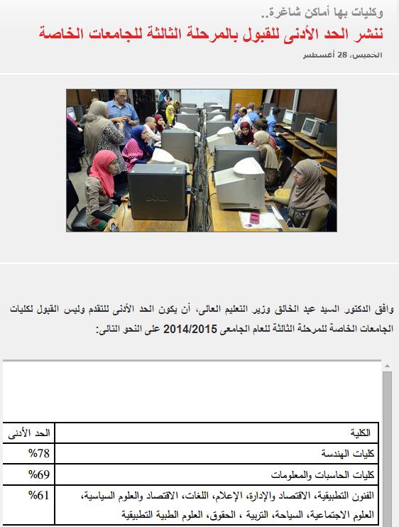تنسيق،الحد الأدنى للقبول بالمرحلة الثالثة للجامعات الخاصة 2014 الكليات والجامعات الخاصه المتاحه