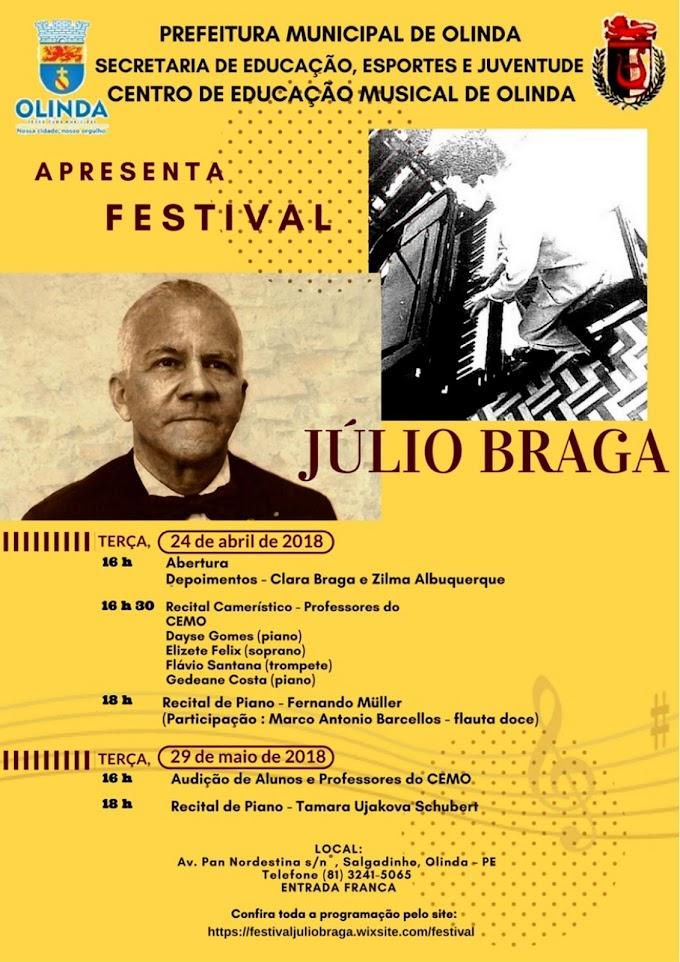 Em Olinda, centenário do pianista Júlio Braga em celebrado com recitais no Cemo