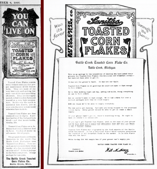 Sanitas Toasted Corn Flakes, advertising Sept. 6, 1906