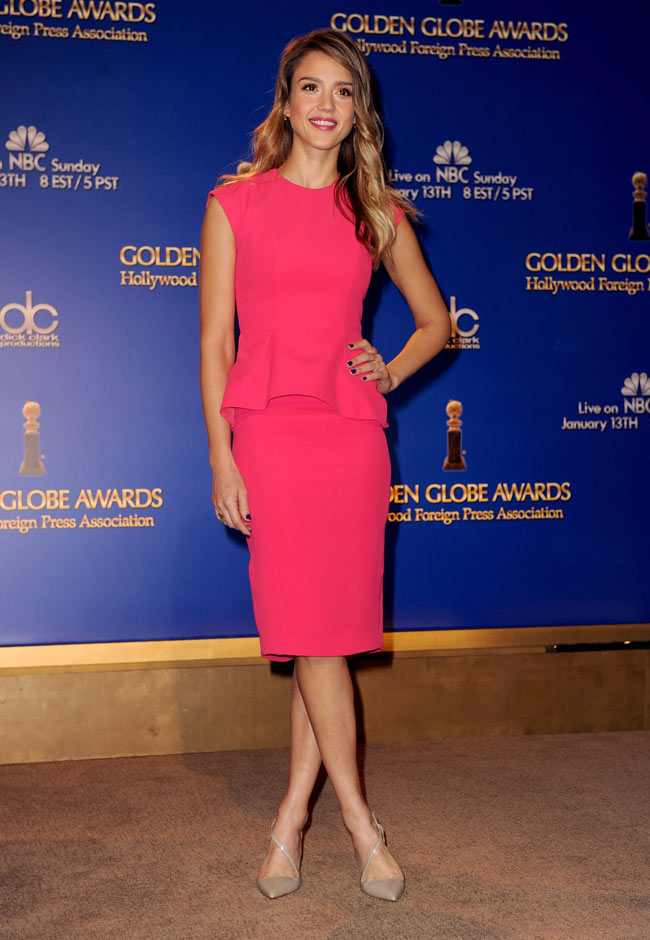 Jessica Alba Wears A Pink Peplum Dior Dress At The 70th