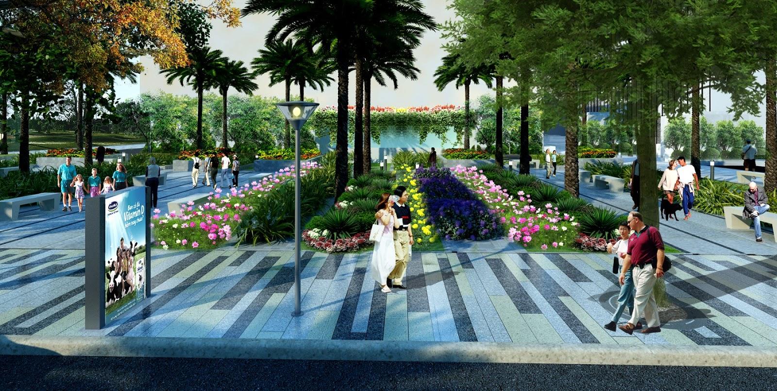 Khu vực vườn dạo bộ trên cao tại Samsora Premier 105 Chu Văn An
