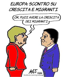 renzi, merkel, europa, ue, crescita, migranti, satira, vignetta