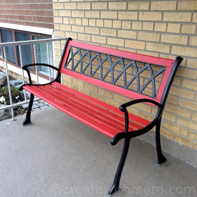 fort york fusion mineral red paint upcycled bench
