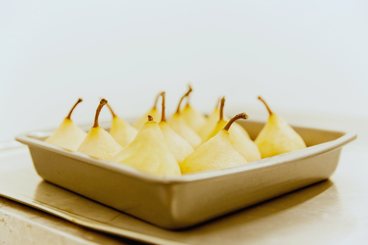 poached pears, cooking, dinner, supper, pudding, fruit pudding, made.com, pop up supper