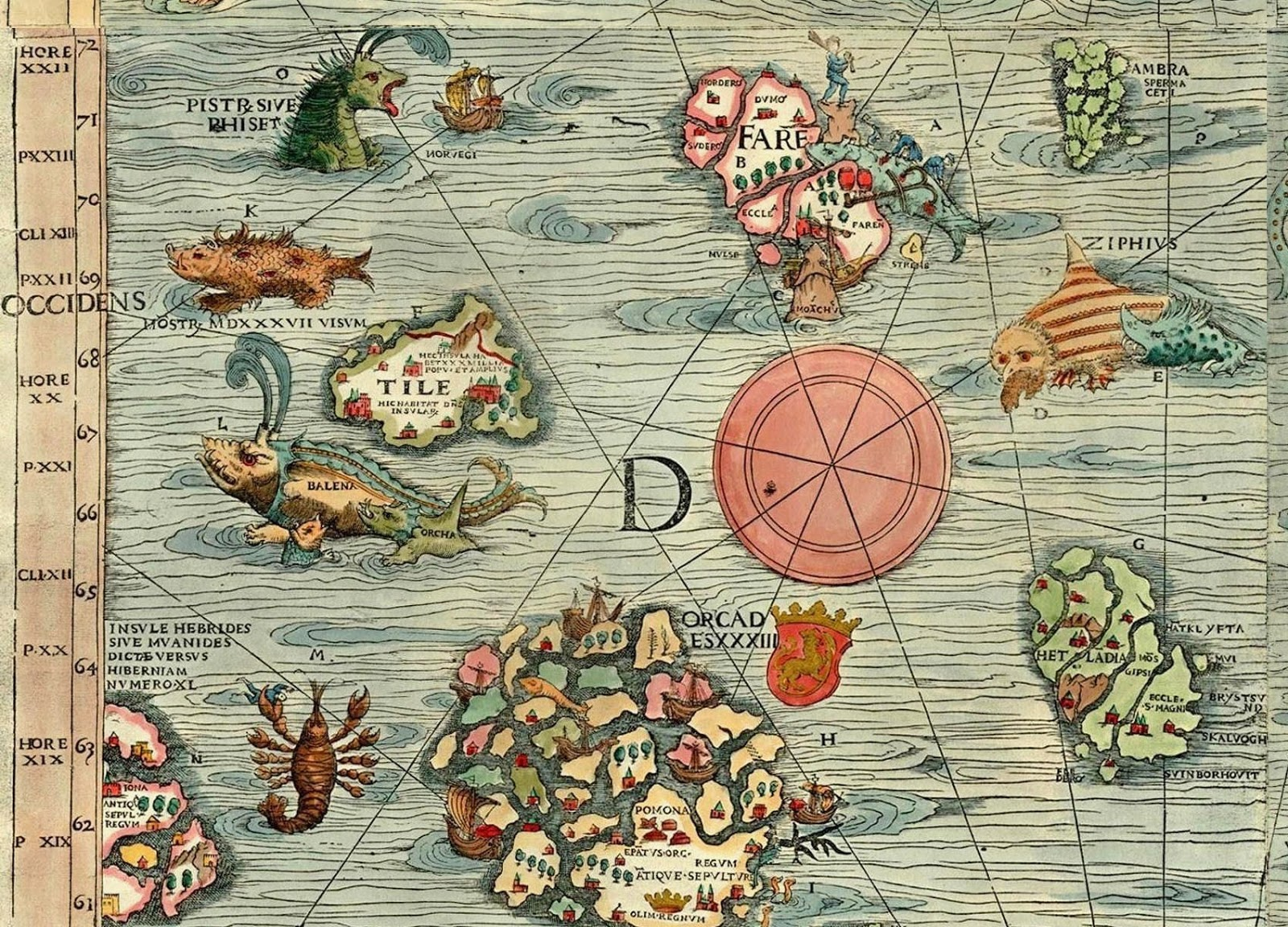 Ultima Thule Thule Tile in the Carta Marina by Olaus Magnus