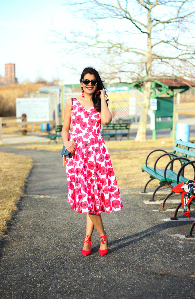 eShakti Hibiscus Print Dress, Red Floral Dress, Saint Laurent Kate Wallet On Chain, Spring Dress For Garden Party, Kate Spade Dress Lookalike, Valentine Day Dresses, Halogen Red Pumps, Red Ankle Tie Pumps