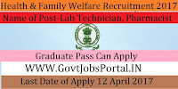 Health, Medical & Family Welfare Department Recruitment 2017– Lab Technician, Pharmacist