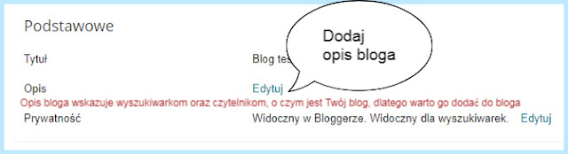 """Ustawienie """"Podstawowe"""" na Bloggerze (Opis bloga)."""