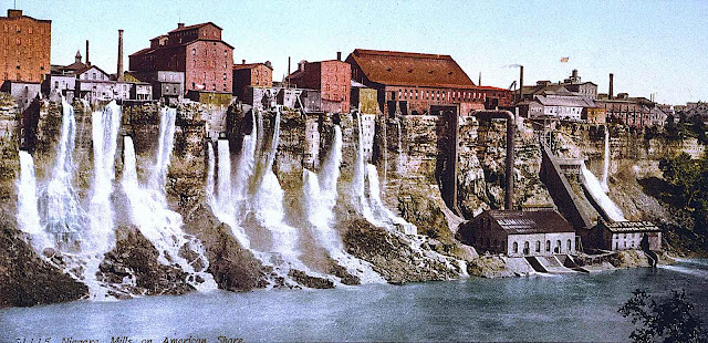 factories at Niagara Falls, 1900 tinted photograph