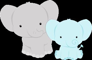 Elefantes para baby shower en gris y azul