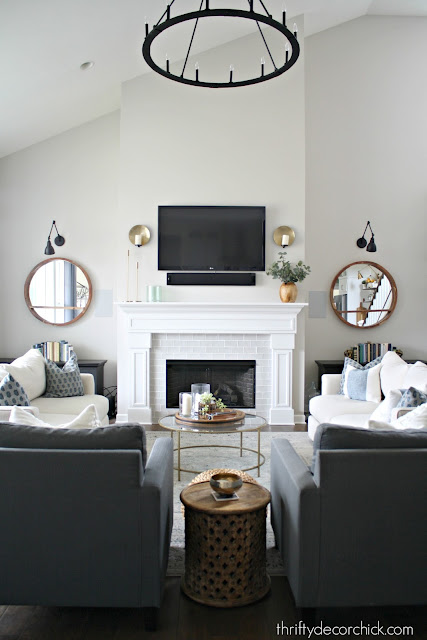 Tall ceiling and fireplace in family room